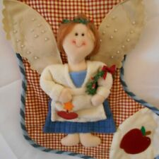 """ANGEL Christmas APPLIQUE 19"""" Stocking by Santarts co. Limited Gingham Wreath"""