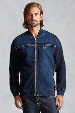 True Religion Men's Blue Denim Bomber Varsity Flight Jacket Coat XXXL 3XL