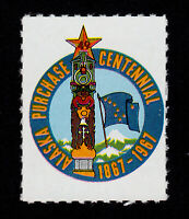 POSTER STAMP ALASKA PURCHASE CENTENNIAL ⭐ 49TH STATE STAR ⭐ TOTEM POLE 1967 MNG