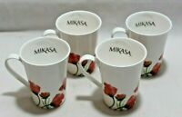Mikasa Keira White / Red Flowers Bone China Coffee Mugs Set of Four New