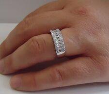 WEDDING BAND  RING W/ 2.50 CT LAB DIAMONDS / SZ 6,7,8,9,10 / 925 STERLING SILVER