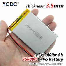 3.7V 3000mAh Li-Po Rechargeable Battery 356090 For MP4 MP5 DVD GPS PAD Tablet 5