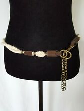 White Nautical Rope Brown Suede Braided Woven Belt Chain and Hook
