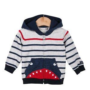 Catimini Boys Zip Up Knit Sweater Hoodie Shark Stripe Toddler Size 2