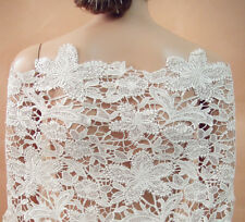 """Stunning Ivory Guipure Embroidery Lace Fabric 51"""" Wide for Bridal Dress 0.5 Yard"""