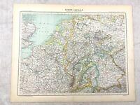 1894 Antik Map Of Central Europa Europäische Original 19th Century Alte