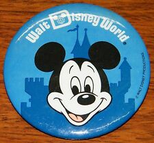 Vintage Blue Mickey Mouse Face Walt Disney Productions Circular Pin Back Button