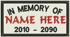 """Set of 2 In Memory Rectangle Name Tag, Biker Patch, badge 4.5"""" x 2.5"""""""
