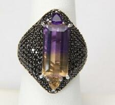 Large Sterling Silver Purple & Yellow Ametrine Marcasite Cocktail Ring Size 7.25
