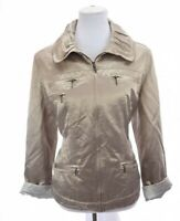 Chico's Womens Satin Full Zip Up Jacket Ruched Collar Metallic Gold Sz 2 Large
