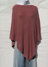 """100% Cashmere Knit """"Boat Neck"""" Poncho  Himalayan Yarn Nepal HandLoomed Dk Coral"""