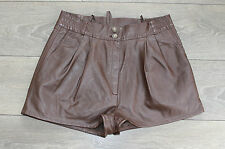 "Brown Soft Leather YESSICA High Waist Front Pleats Hot Pants Shorts Size W30"" L1"