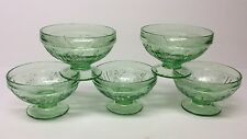 """5- Green Depression Federal Sharon """"Cabbage Rose"""" Low Footed Sherbet Dishes"""