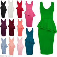 Polyester Sleeveless Dresses for Women with Peplum