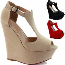 Wedge Peep Toes Patternless Suede Upper Heels for Women
