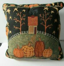 """Fall Harvest Tapestry Pillow Pumpkins & House - Green on Back 16"""""""