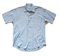 MENS YSL YVES SAINT LAURENT SHIRT SHORT SLEEVED CHECK BLUE SIZE M (42) RRP £95