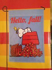 "New Peanuts Snoopy ""Hello, Fall!"" Garden Flag Woodstock Fall Leaves"