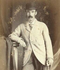 Early Cabinet Card Photo Man Bowler Hat J Lawton Studio Kandy Ceylon 1870s-1880s