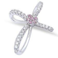 Pink Topaz & Cz Cross .925 Sterling Silver Pendant 21x16mm