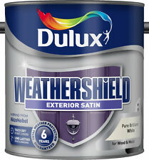 Dulux Weathershield Satin 2.5L Pure Brilliant White Paint Wood Metal Quick Dry