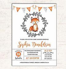 FOX Baby Shower INVITATION Woodland Forest Animal Invite Party Supplies Birthday