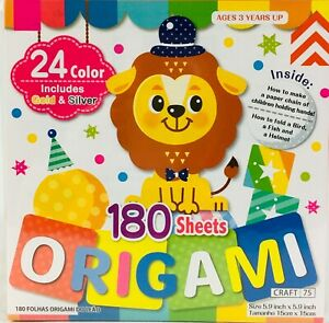 """Origami Paper 24 Colors 180 Sheets One Sided 15cm (5.9"""") Square Incl Gold&Silver"""
