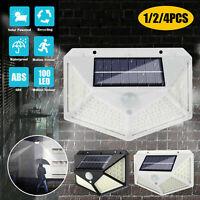 100 LED Solar Power Wall Light PIR Motion Sensor Waterproof Outdoor Garden Lamps