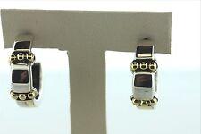 Lagos Caviar Triple Dot Sterling Silver & Gold 18K 750 Studded J Hoop Earrings