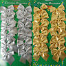 24X Christmas Tree Bow Decoration Baubles XMAS Party Garden Bows Ornament Gold