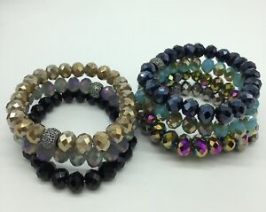 Free Shipping Fashion Women 10mm Glass Crystal Bracelets 7 pcs/lot Gift set