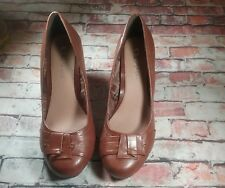 CL by Laundry Brown Impassioned Wedge High Heels 10M Slip On