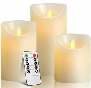 Candles Luminara Flameless LED Timer Remote WAX Pillar Ivory Moving Wick Set Of3