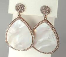 Rose Gold Clad Sterling Silver 925 Mother of Pearl MOP White Topaz Drop Earrings