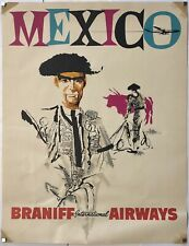 Original Vintage Poster MEXICO - BRANIFF INTERNATIONAL AIRWAYS Airline Travel