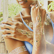 Floral Metal Chains Fake Body Art Temporary Tattoo Sticker Gold Blue Flowers