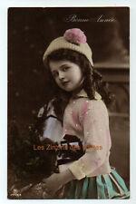 Carte postale ancienne | Fillette | Bonnet | Sapin | Gilet | Bonne Année