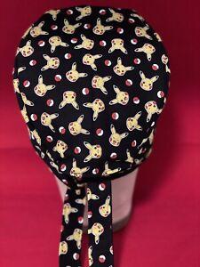 Men/Women Surgical Scrub Cap.  Pokémon Pikachu New Black/Red/Yellow