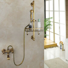 Shower Faucet  Rainfall Hand Sprayer Tub Mixer Tap +Shelf Antique Brass
