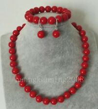 910mm Red Coral Round Beads Necklace Bracelet Earring Set