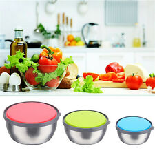 6 Piece Home Mixing Stainless Steel 3 Storage Bowl Set With 3 Plastic Lids