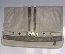 Marc By Marc Jacobs Grey Leather Bag Handbag Clutch Silver Hardware $368