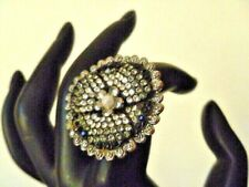 MIMCO Adjustable Crystal & Faux Pearl Ring