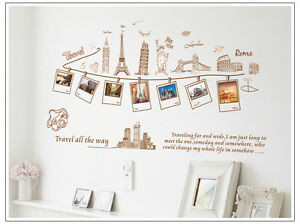 Wandtattoo Travel Aufkleber Reise Foto Sticker Rom New York Paris London 9011