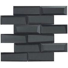 Modern Subway Black Glossy Glass Mosaic Tile Backsplash Kitchen Wall Mto0157