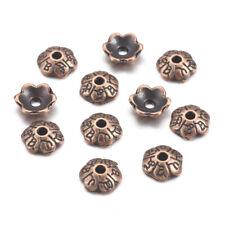 100pcs Red Copper Nickel Free 6-Petal Tibetan Style Alloy Flower Bead Caps 6x2mm