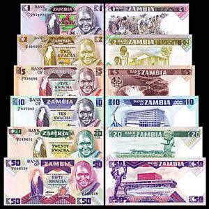 Zambia 6 Pcs SET, 1 2 5 10 20 50 Kwacha 1980 1988, UNC, P-23b-24c-25d-26e-27e-28