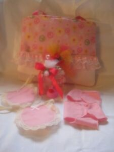 """Handmade peacesign and flower diaper bag with accessories.Fits 9-10"""" baby dolls"""