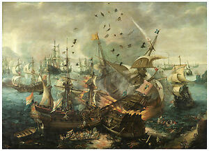 "Maritime "".Spanish Flagship...battle of Gibraltar"" van Wieringen ca. 1621"