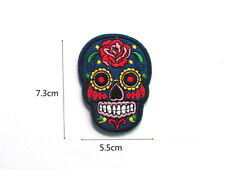 Hot Good Quality Embroidered Applique Iron On Sew On Patch Color Skull